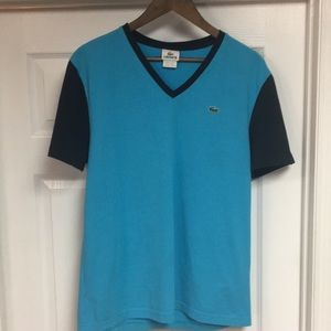 Lacoste Vneck two tone tee